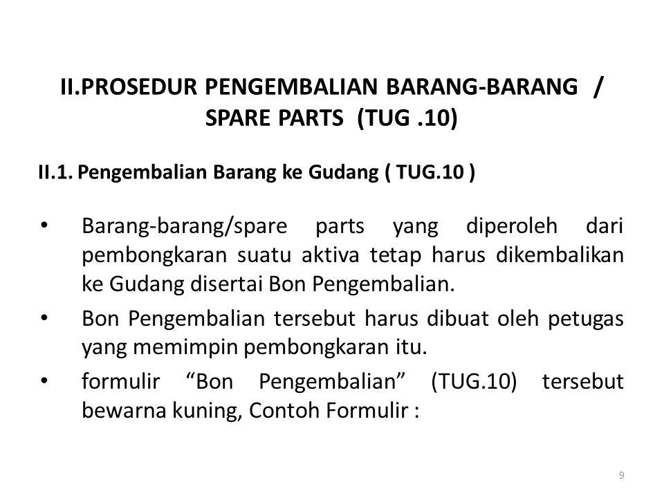 II.PROSEDUR PENGEMBALIAN BARANG-BARANG / SPARE PARTS (TUG.10) Barang-barang/spare parts yang diperoleh dari pembongkaran suatu aktiva tetap harus dike