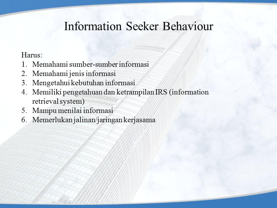 Information Seeker Behaviour Harus: 1.Memahami sumber-sumber informasi 2.Memahami jenis informasi 3.Mengetahui kebutuhan informasi 4.Memiliki pengetah