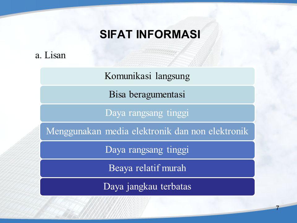 SIFAT INFORMASI (lanjutan) b.