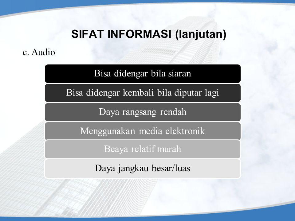 SIFAT INFORMASI (lanjutan) c. Audio Bisa didengar bila siaranBisa didengar kembali bila diputar lagiDaya rangsang rendahMenggunakan media elektronikBe