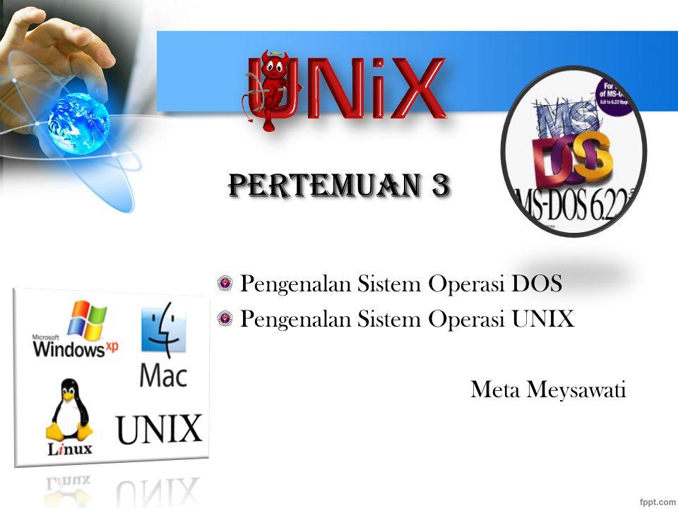 Pertemuan 3 Pengenalan Sistem Operasi DOS Pengenalan Sistem Operasi UNIX Meta Meysawati