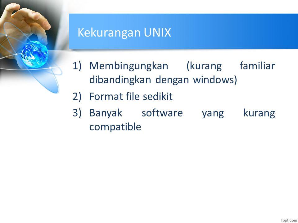 Kekurangan UNIX 1)Membingungkan (kurang familiar dibandingkan dengan windows) 2)Format file sedikit 3)Banyak software yang kurang compatible