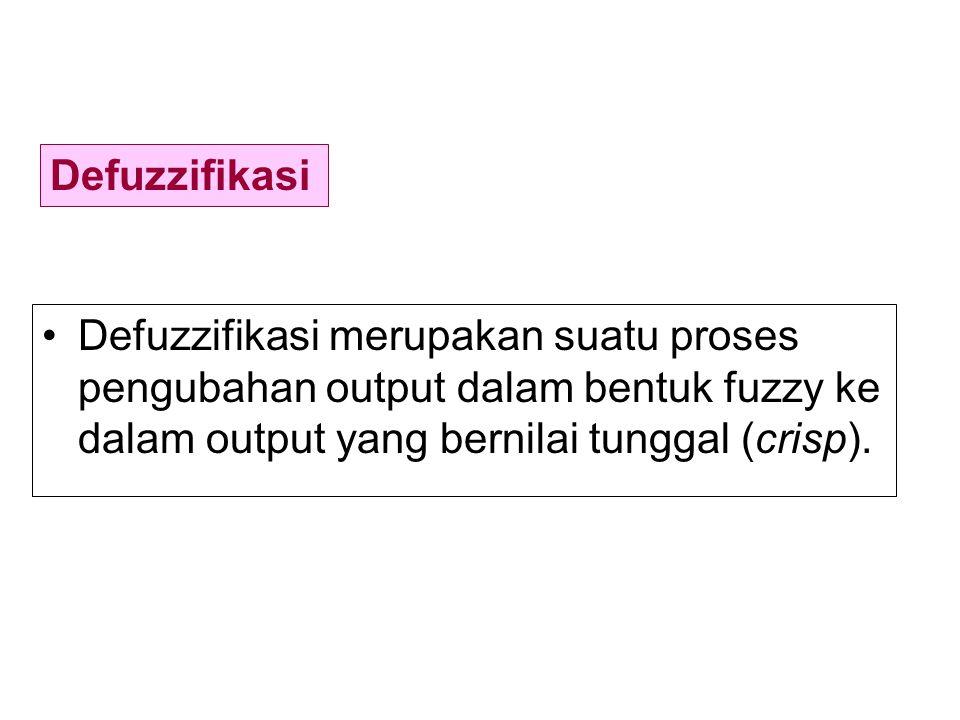 Defuzzifikasi merupakan suatu proses pengubahan output dalam bentuk fuzzy ke dalam output yang bernilai tunggal (crisp).
