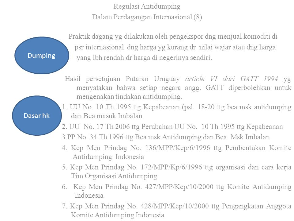 Regulasi Antidumping Dalam Perdagangan Internasional (8) Praktik dagang yg dilakukan oleh pengekspor dng menjual komoditi di psr internasional dng har