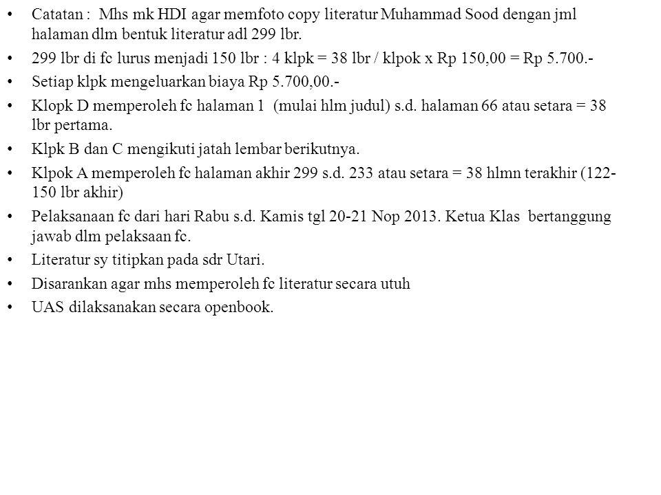 Catatan : Mhs mk HDI agar memfoto copy literatur Muhammad Sood dengan jml halaman dlm bentuk literatur adl 299 lbr. 299 lbr di fc lurus menjadi 150 lb