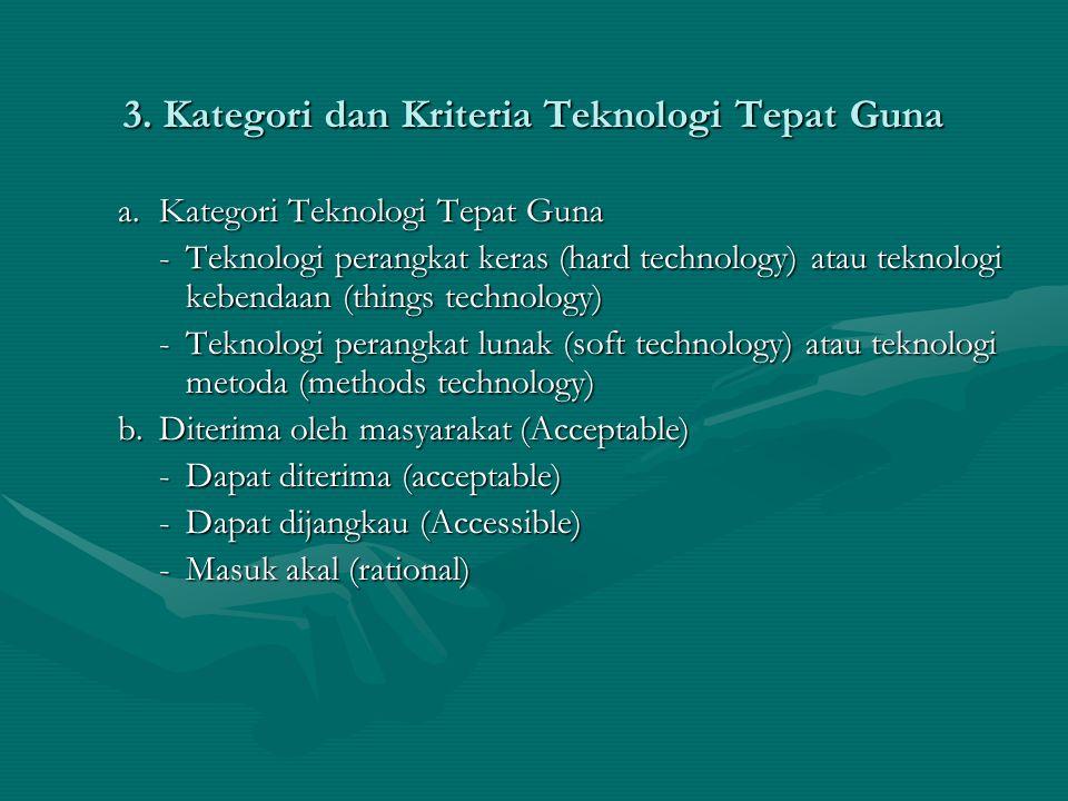 3. Kategori dan Kriteria Teknologi Tepat Guna a.Kategori Teknologi Tepat Guna -Teknologi perangkat keras (hard technology) atau teknologi kebendaan (t