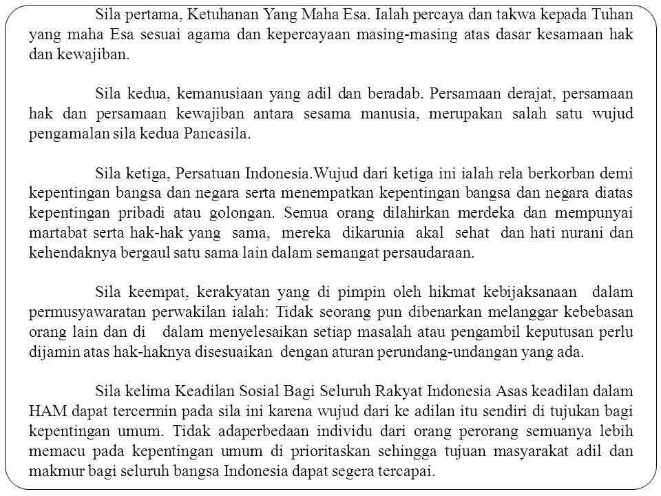 Hubungan HAM dan UUD 1945 1.Dalam rangka mewujudkan cita-cita proklamasi 17 Agustus 1945, untuk membangun masyarakat adil dan makmur berdasarkan pancasila dalam negara Indonesia yang berdasarkan atas hukum ( Rechtstaat ), tidak berdasarkan atas kekuasaan belaka (Machtsstaat), maka hukum harus di jadikan prinsip pokok, serta pedoman dasar untuk diterapkan dan dipegang teguh di dalam penyelenggaraan negara.