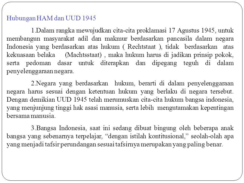 Hubungan HAM dan UUD 1945 1.Dalam rangka mewujudkan cita-cita proklamasi 17 Agustus 1945, untuk membangun masyarakat adil dan makmur berdasarkan panca