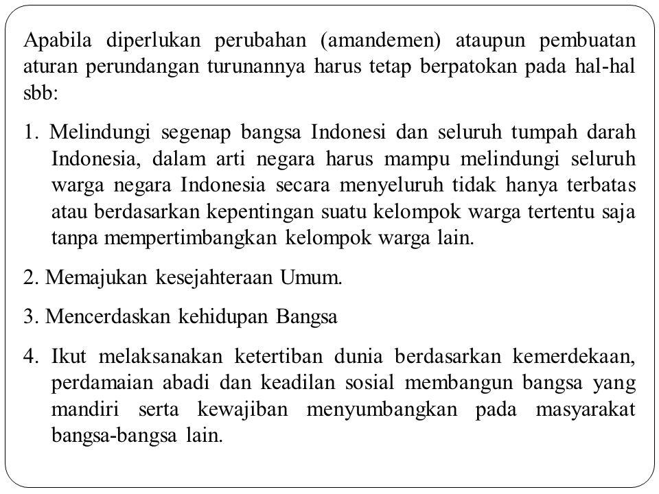 Hubungan HAM dengan Undang-Undang Dasar 1945 dapat diterjemahkan dalam moral kebangsaan sbb: 1.Kebijaksanaan harus diarahkan pada kebijaksanaan politik dan hukum dengan perlakuan serta hak dan kewajiban yang sama bagi siapapun, perorangan atau kelompok yang berada di dalam batas wilayah NKRI.