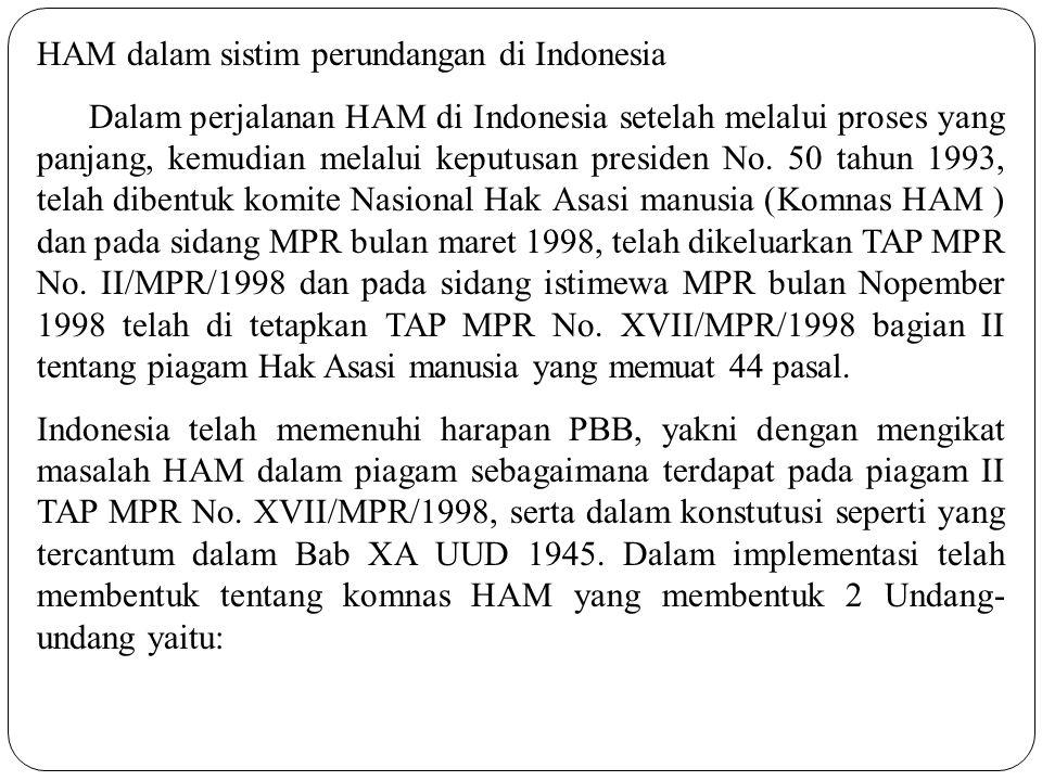 HAM dalam sistim perundangan di Indonesia Dalam perjalanan HAM di Indonesia setelah melalui proses yang panjang, kemudian melalui keputusan presiden N