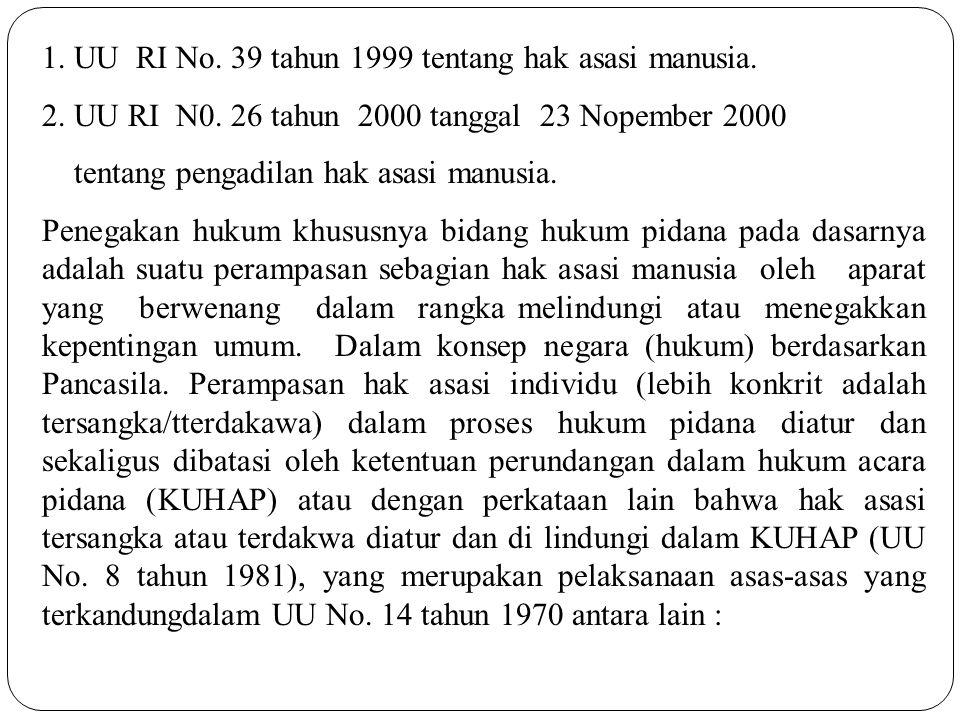 1. UU RI No. 39 tahun 1999 tentang hak asasi manusia. 2. UU RI N0. 26 tahun 2000 tanggal 23 Nopember 2000 tentang pengadilan hak asasi manusia. Penega