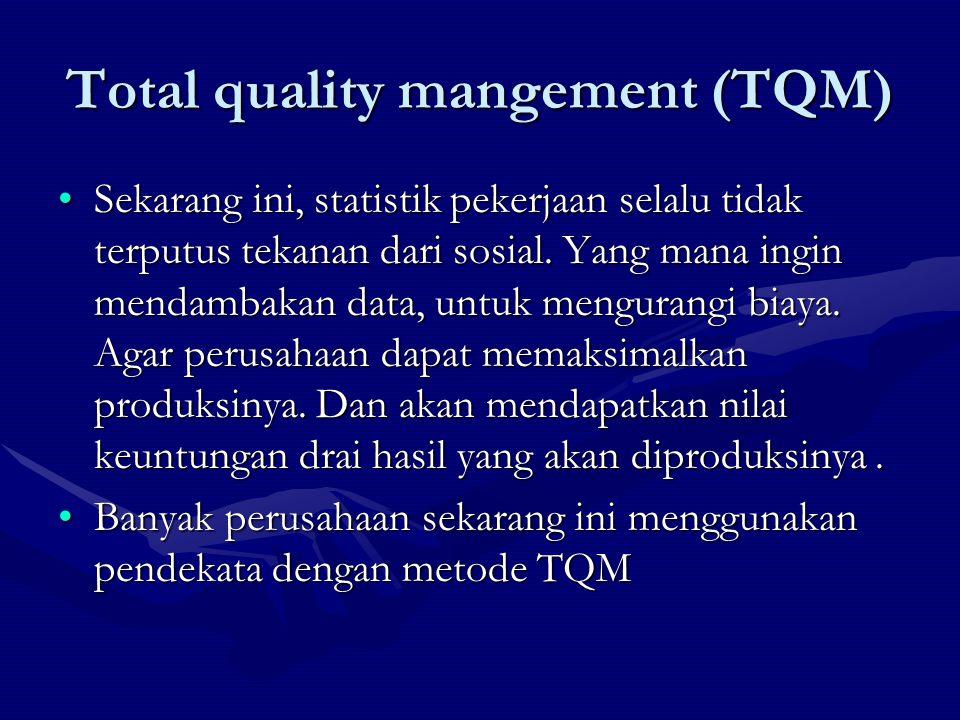 TQM bertujuan untuk menyediakan produk pelayanan yang berkualitas kepada pelanggan, yang pad gilirannya akan meningkatkan produktivvitas dan biaya yang rendah.