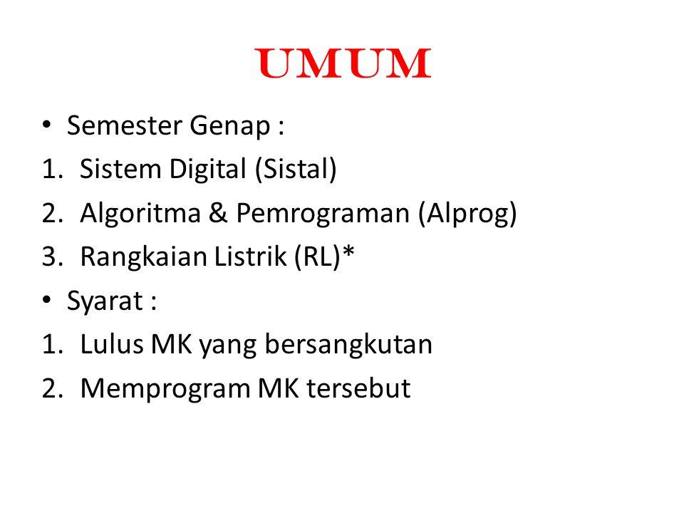 umUM Semester Genap : 1.Sistem Digital (Sistal) 2.Algoritma & Pemrograman (Alprog) 3.Rangkaian Listrik (RL)* Syarat : 1.Lulus MK yang bersangkutan 2.Memprogram MK tersebut