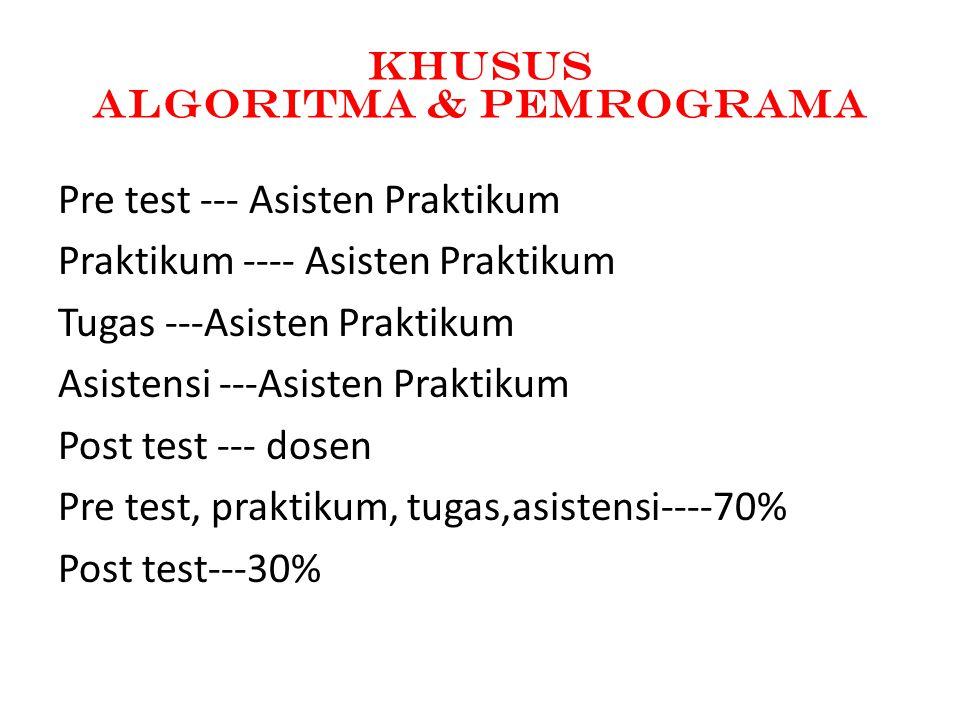 KhusUs Algoritma & Pemrograma Pre test --- Asisten Praktikum Praktikum ---- Asisten Praktikum Tugas ---Asisten Praktikum Asistensi ---Asisten Praktikum Post test --- dosen Pre test, praktikum, tugas,asistensi----70% Post test---30%