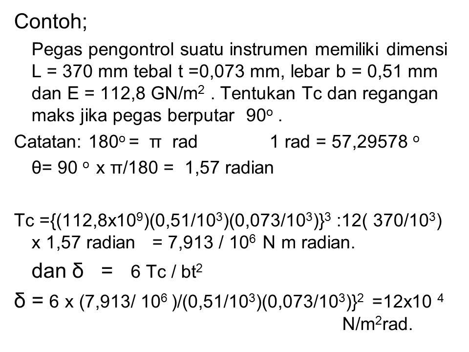 Contoh; Pegas pengontrol suatu instrumen memiliki dimensi L = 370 mm tebal t =0,073 mm, lebar b = 0,51 mm dan E = 112,8 GN/m 2. Tentukan Tc dan regang