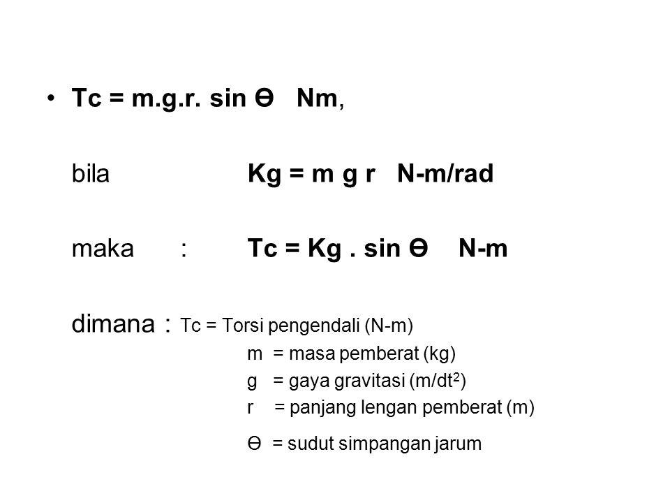 Tc = m.g.r. sin Ө Nm, bila Kg = m g r N-m/rad maka : Tc = Kg. sin Ө N-m dimana : Tc = Torsi pengendali (N-m) m = masa pemberat (kg) g = gaya gravitasi