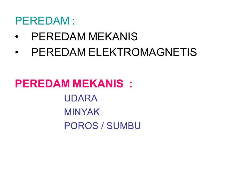 PEREDAM : PEREDAM MEKANIS PEREDAM ELEKTROMAGNETIS PEREDAM MEKANIS : UDARA MINYAK POROS / SUMBU