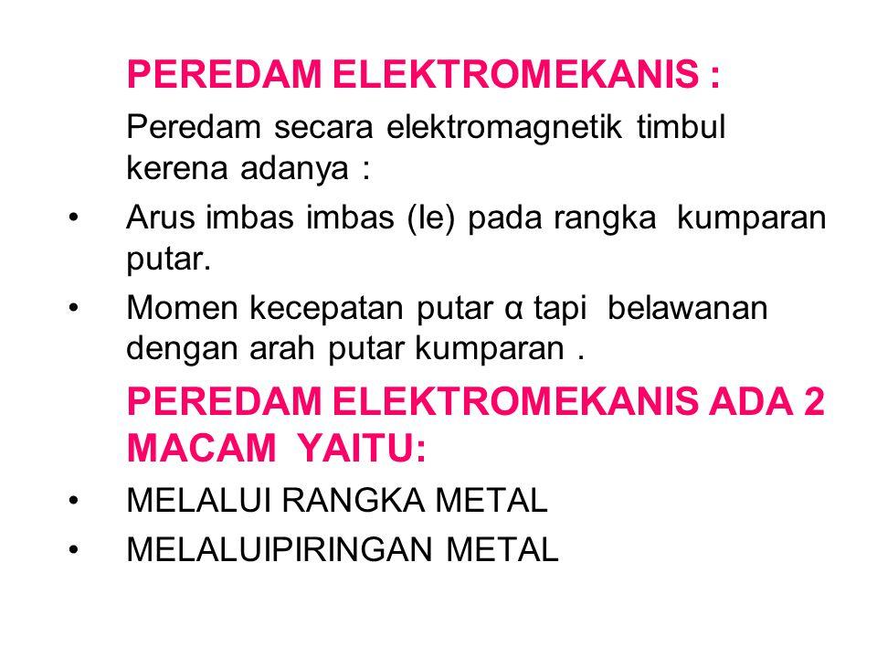 PEREDAM ELEKTROMEKANIS : Peredam secara elektromagnetik timbul kerena adanya : Arus imbas imbas (Ie) pada rangka kumparan putar. Momen kecepatan putar