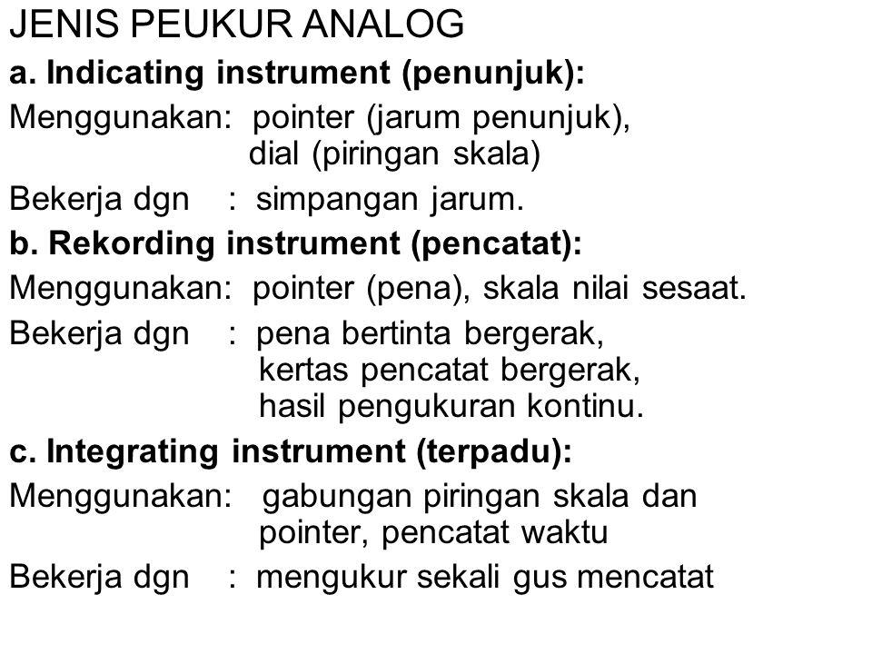 JENIS PEUKUR ANALOG a. Indicating instrument (penunjuk): Menggunakan: pointer (jarum penunjuk), dial (piringan skala) Bekerja dgn : simpangan jarum. b