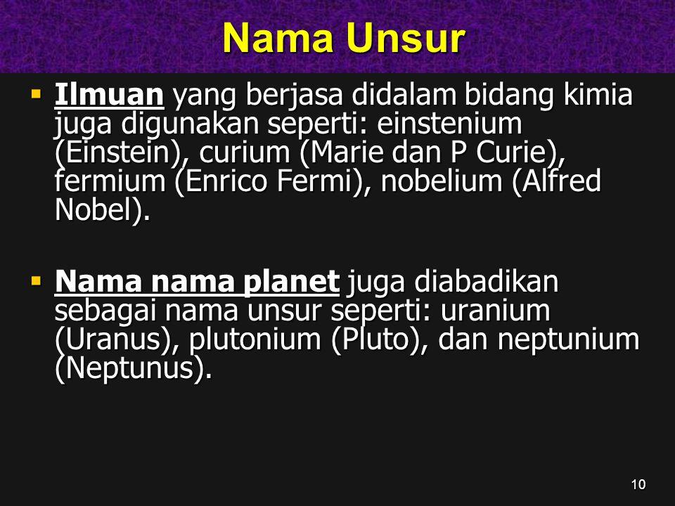10 Nama Unsur Nama Unsur  Ilmuan yang berjasa didalam bidang kimia juga digunakan seperti: einstenium (Einstein), curium (Marie dan P Curie), fermium