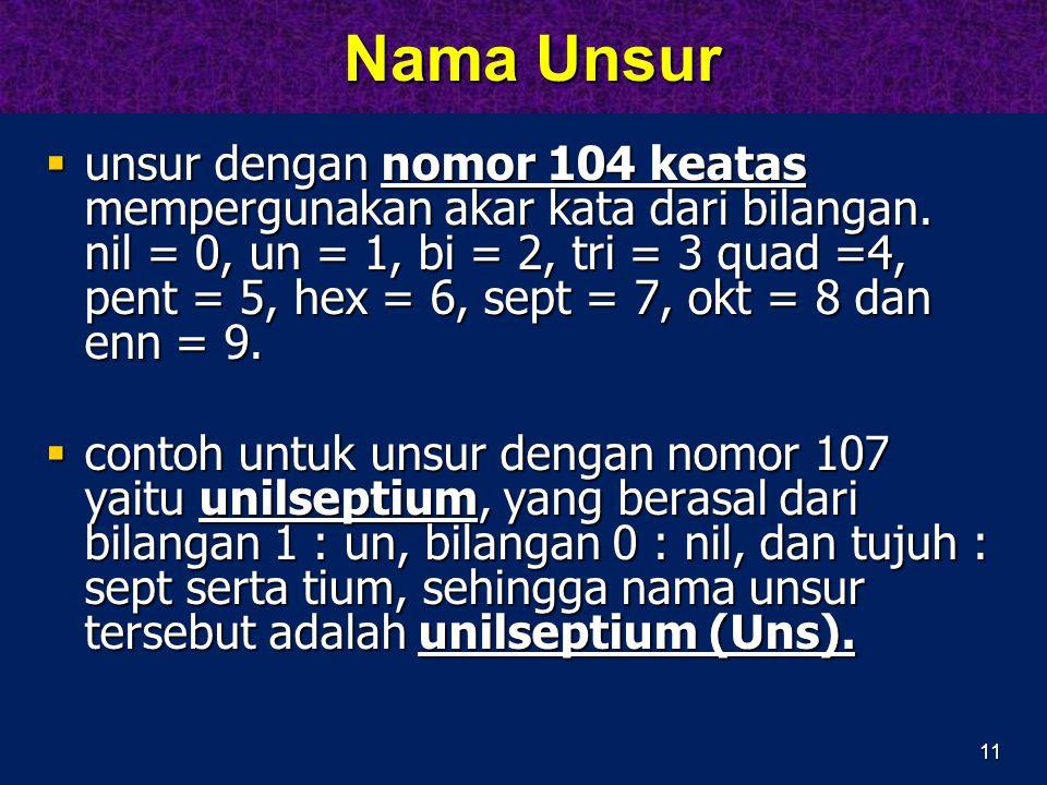 11 Nama Unsur Nama Unsur  unsur dengan nomor 104 keatas mempergunakan akar kata dari bilangan. nil = 0, un = 1, bi = 2, tri = 3 quad =4, pent = 5, he