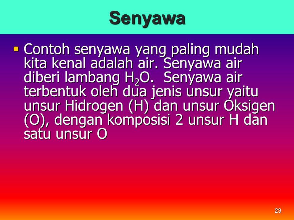 23Senyawa  Contoh senyawa yang paling mudah kita kenal adalah air. Senyawa air diberi lambang H 2 O. Senyawa air terbentuk oleh dua jenis unsur yaitu