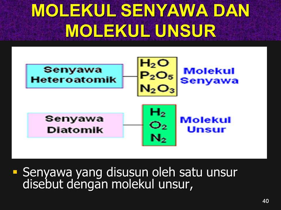 40 MOLEKUL SENYAWA DAN MOLEKUL UNSUR  Senyawa yang disusun oleh satu unsur disebut dengan molekul unsur,