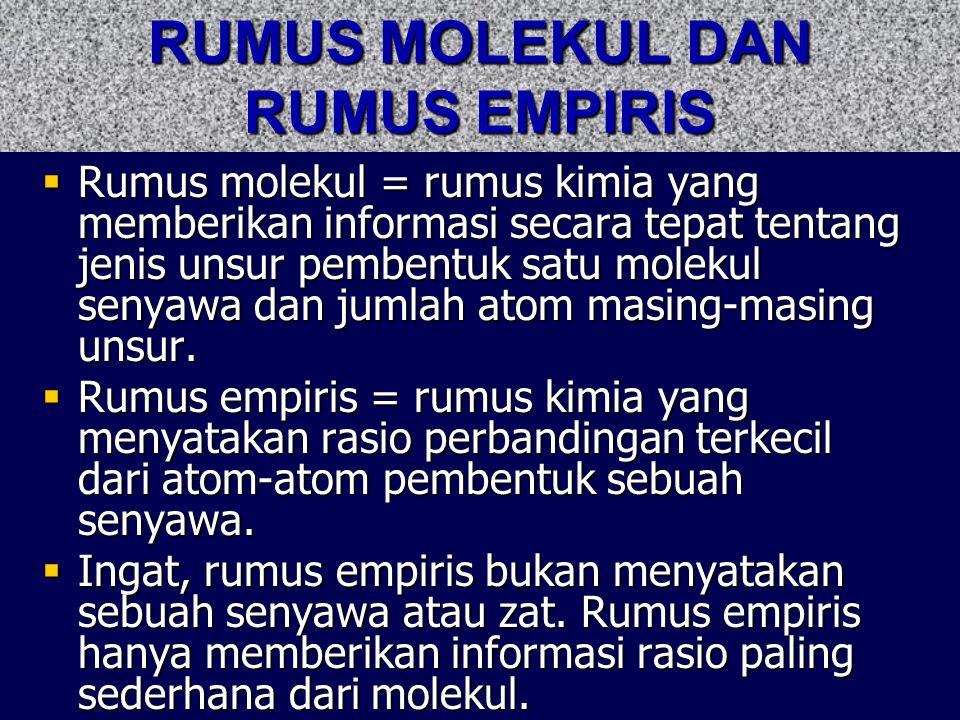 RUMUS MOLEKUL DAN RUMUS EMPIRIS  Rumus molekul = rumus kimia yang memberikan informasi secara tepat tentang jenis unsur pembentuk satu molekul senyaw