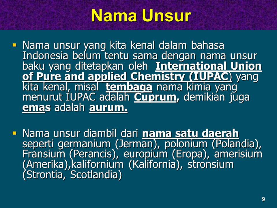 9 Nama Unsur Nama Unsur  Nama unsur yang kita kenal dalam bahasa Indonesia belum tentu sama dengan nama unsur baku yang ditetapkan oleh International