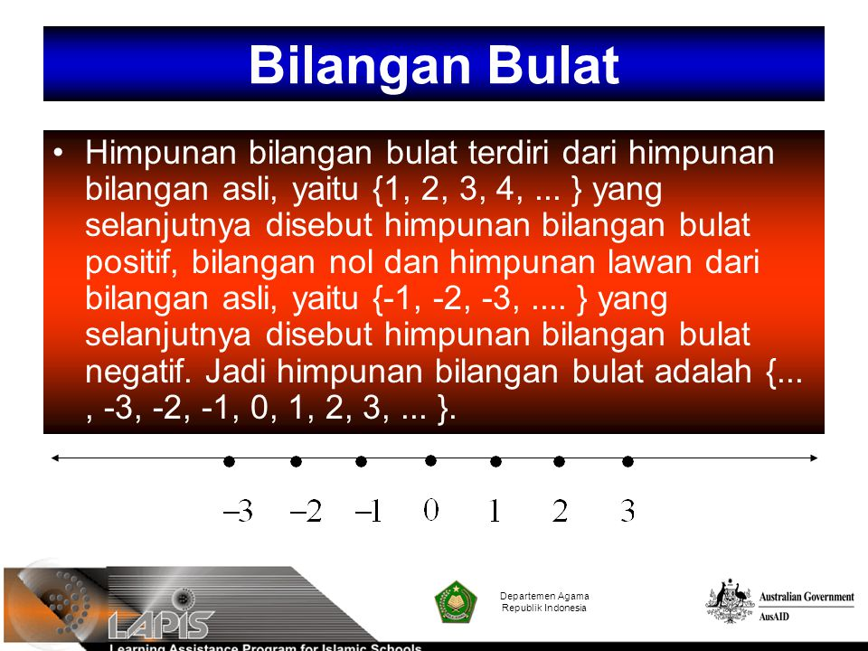 Departemen Agama Republik Indonesia Himpunan bilangan bulat terdiri dari himpunan bilangan asli, yaitu {1, 2, 3, 4,... } yang selanjutnya disebut himp