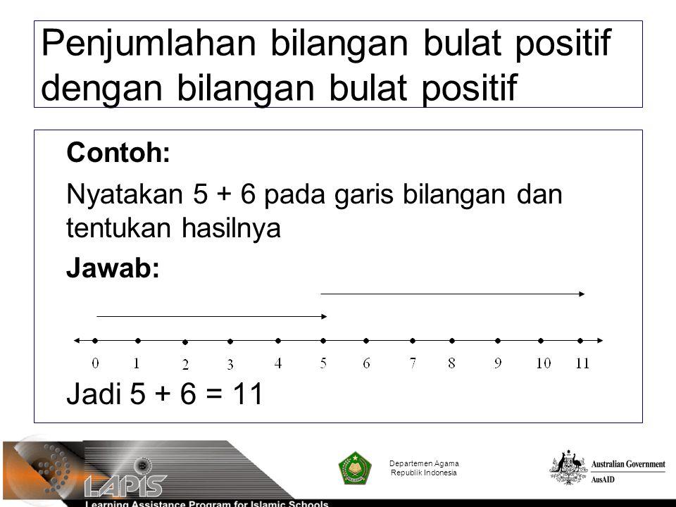 Contoh: Nyatakan 5 + 6 pada garis bilangan dan tentukan hasilnya Jawab: Jadi 5 + 6 = 11 Departemen Agama Republik Indonesia Penjumlahan bilangan bulat