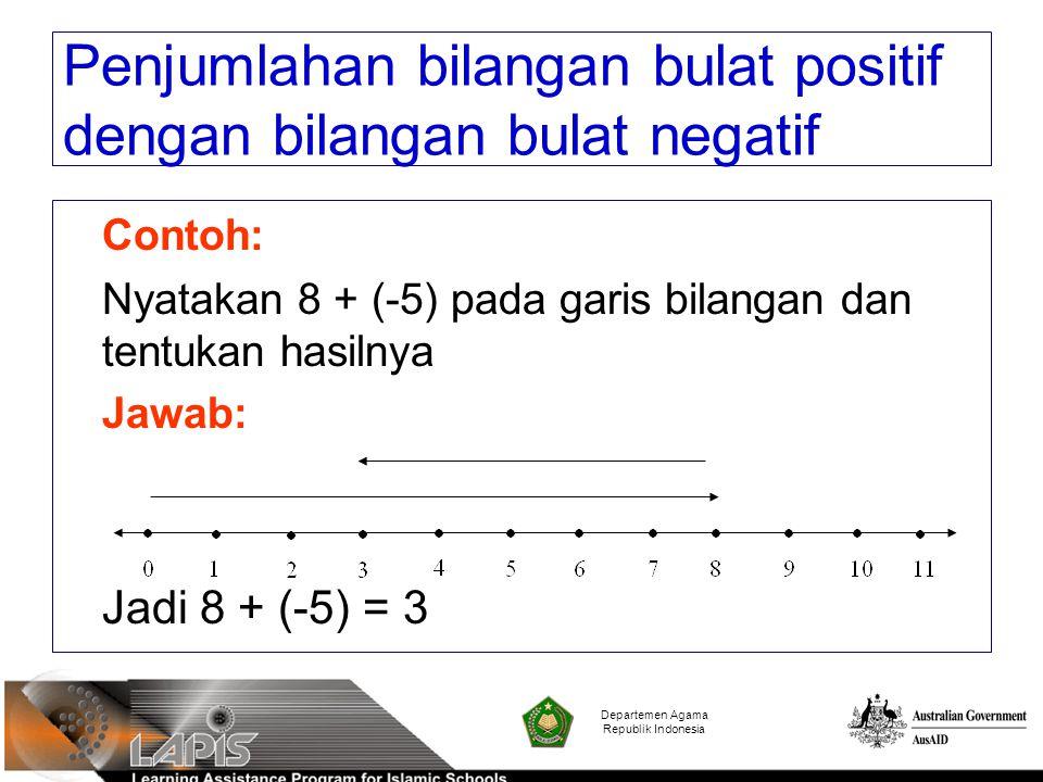 Contoh: Nyatakan 8 + (-5) pada garis bilangan dan tentukan hasilnya Jawab: Jadi 8 + (-5) = 3 Departemen Agama Republik Indonesia Penjumlahan bilangan