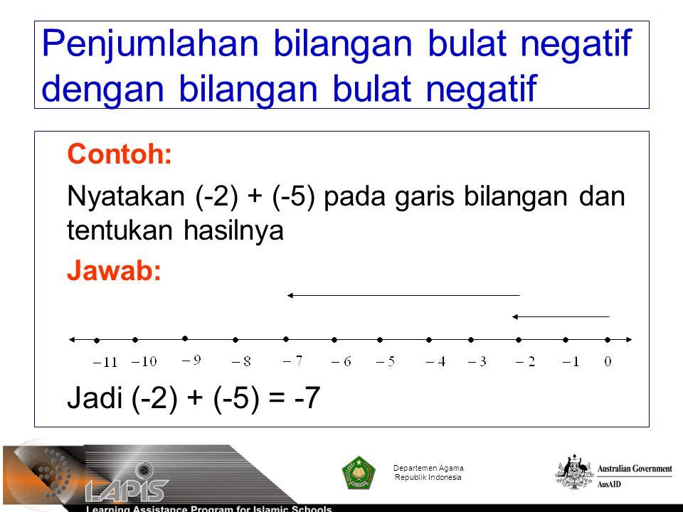 Contoh: Nyatakan (-2) + (-5) pada garis bilangan dan tentukan hasilnya Jawab: Jadi (-2) + (-5) = -7 Departemen Agama Republik Indonesia Penjumlahan bi