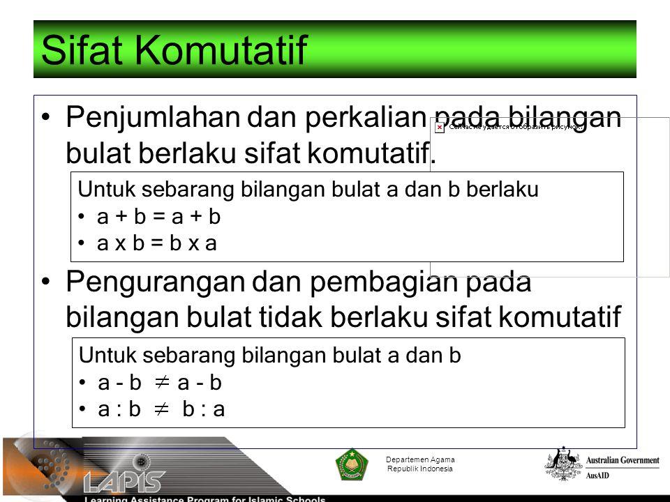 Departemen Agama Republik Indonesia Sifat Komutatif Penjumlahan dan perkalian pada bilangan bulat berlaku sifat komutatif. Pengurangan dan pembagian p