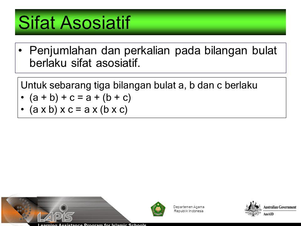 Departemen Agama Republik Indonesia Sifat Asosiatif Penjumlahan dan perkalian pada bilangan bulat berlaku sifat asosiatif. Untuk sebarang tiga bilanga