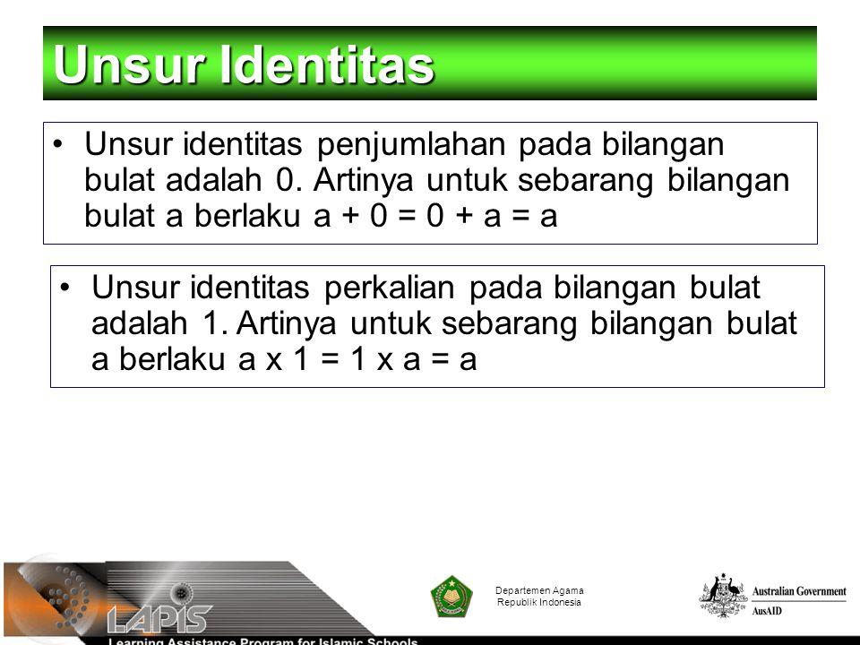 Departemen Agama Republik Indonesia Unsur Identitas Unsur identitas penjumlahan pada bilangan bulat adalah 0. Artinya untuk sebarang bilangan bulat a