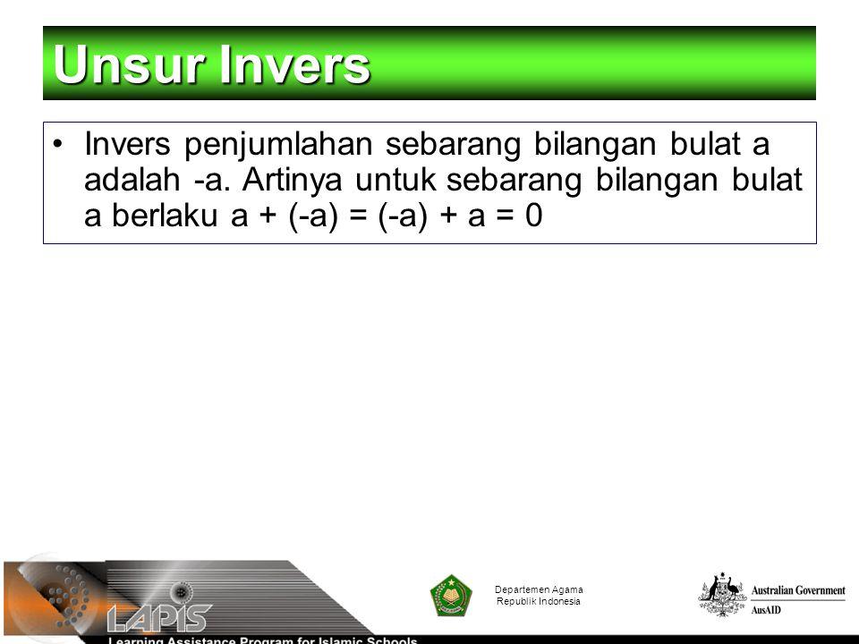 Departemen Agama Republik Indonesia Unsur Invers Invers penjumlahan sebarang bilangan bulat a adalah -a. Artinya untuk sebarang bilangan bulat a berla