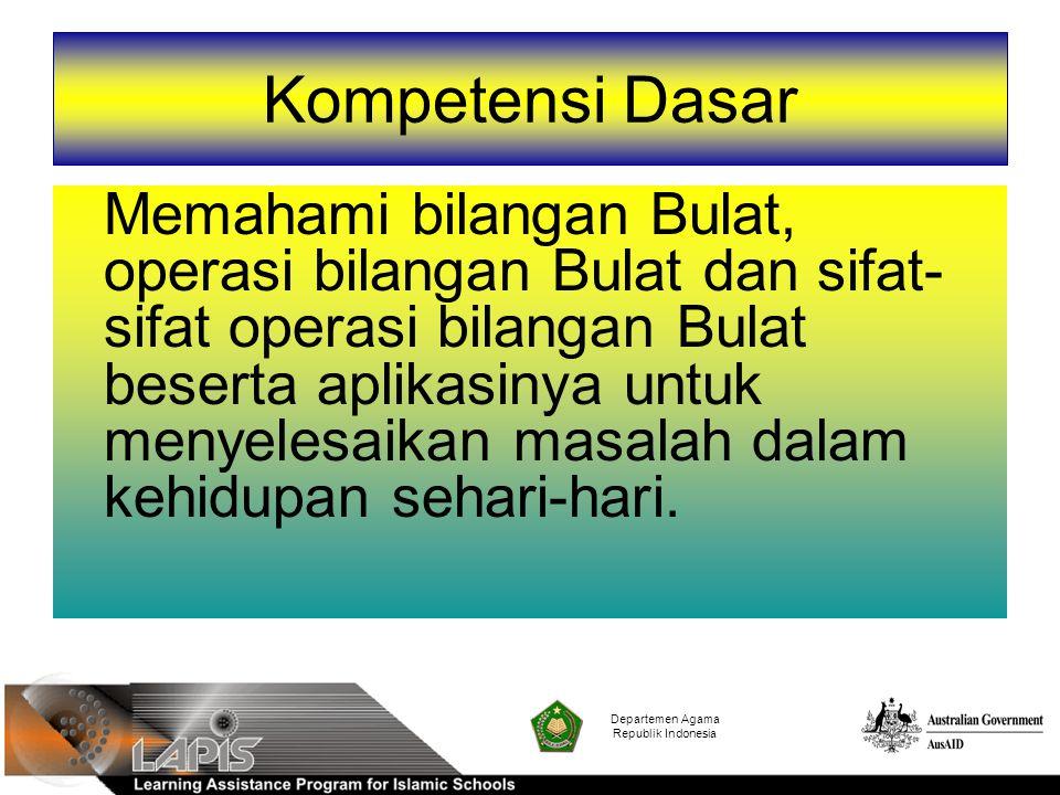 Departemen Agama Republik Indonesia Sifat Tertutup Penjumlahan, pengurangan dan perkalian pada bilangan bulat berlaku sifat tertutup.
