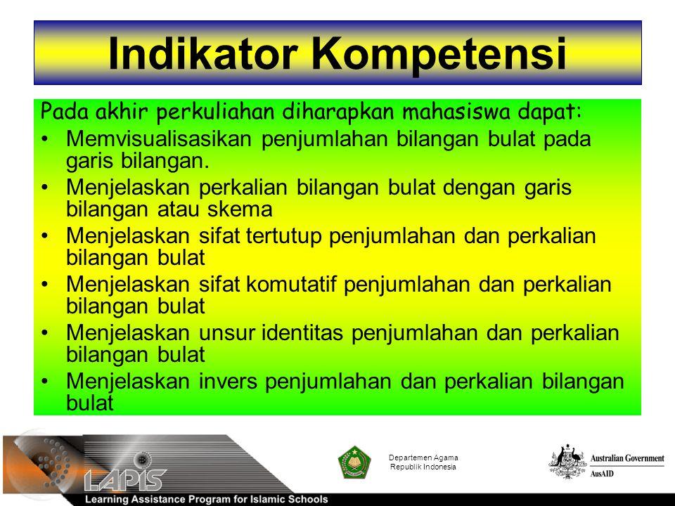 Departemen Agama Republik Indonesia Sifat Komutatif Penjumlahan dan perkalian pada bilangan bulat berlaku sifat komutatif.
