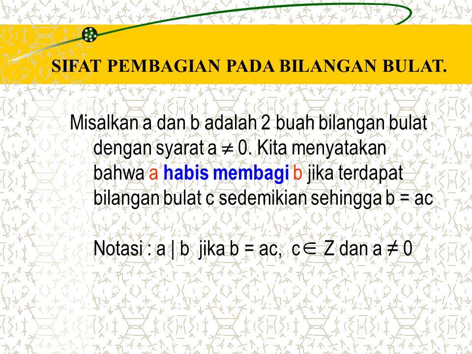 Misalkan a dan b adalah 2 buah bilangan bulat dengan syarat a  0. Kita menyatakan bahwa a habis membagi b jika terdapat bilangan bulat c sedemikian s