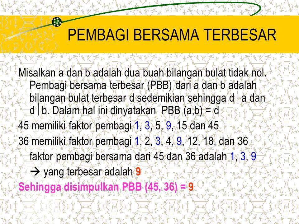 PEMBAGI BERSAMA TERBESAR Misalkan a dan b adalah dua buah bilangan bulat tidak nol. Pembagi bersama terbesar (PBB) dari a dan b adalah bilangan bulat