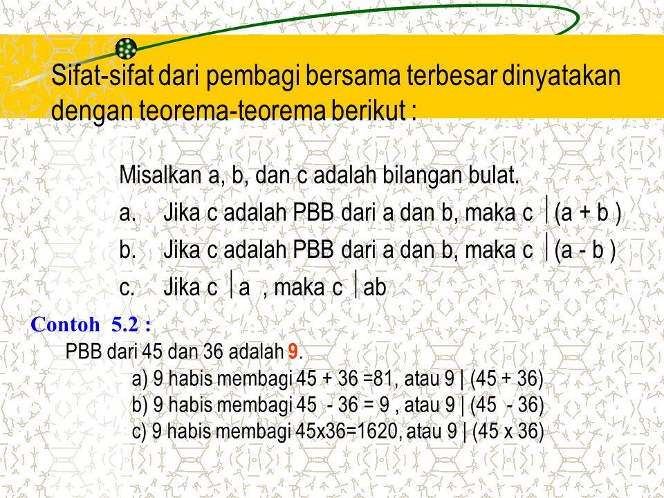 Sifat-sifat dari pembagi bersama terbesar dinyatakan dengan teorema-teorema berikut : Misalkan a, b, dan c adalah bilangan bulat. a.Jika c adalah PBB