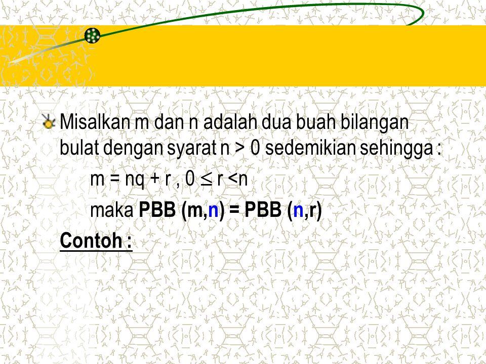 Misalkan m dan n adalah dua buah bilangan bulat dengan syarat n > 0 sedemikian sehingga : m = nq + r, 0  r <n maka PBB (m,n) = PBB (n,r) Contoh :