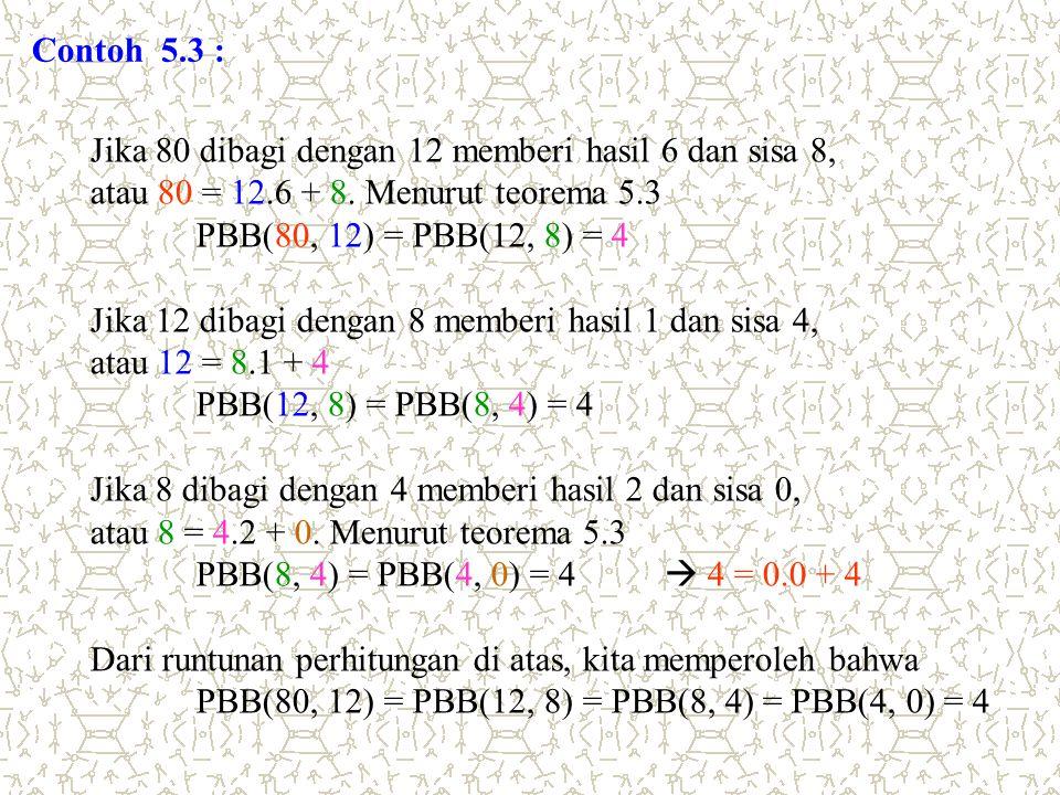 Contoh 5.3 : Jika 80 dibagi dengan 12 memberi hasil 6 dan sisa 8, atau 80 = 12.6 + 8. Menurut teorema 5.3 PBB(80, 12) = PBB(12, 8) = 4 Jika 12 dibagi
