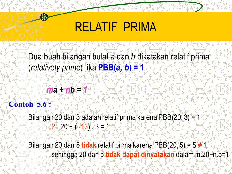 RELATIF PRIMA Dua buah bilangan bulat a dan b dikatakan relatif prima ( relatively prime ) jika PBB( a, b ) = 1 ma + nb = 1 Contoh 5.6 : Bilangan 20 d