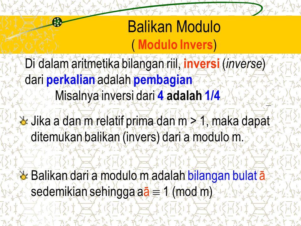 Balikan Modulo ( Modulo Invers ) Jika a dan m relatif prima dan m > 1, maka dapat ditemukan balikan (invers) dari a modulo m. Balikan dari a modulo m