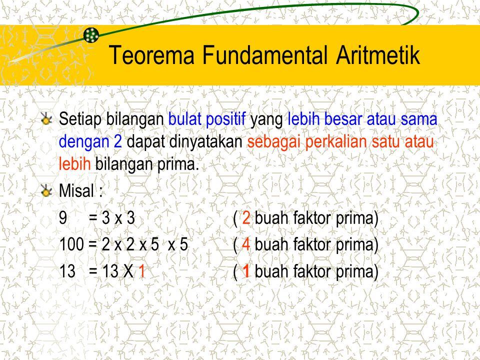Teorema Fundamental Aritmetik Setiap bilangan bulat positif yang lebih besar atau sama dengan 2 dapat dinyatakan sebagai perkalian satu atau lebih bil