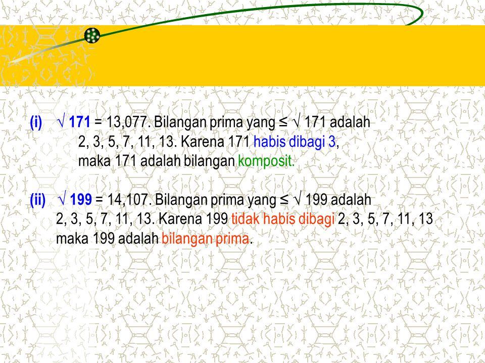 (i)√ 171 = 13,077. Bilangan prima yang ≤ √ 171 adalah 2, 3, 5, 7, 11, 13. Karena 171 habis dibagi 3, maka 171 adalah bilangan komposit. (ii) √ 199 = 1