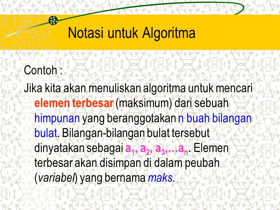 Notasi untuk Algoritma Contoh : Jika kita akan menuliskan algoritma untuk mencari elemen terbesar (maksimum) dari sebuah himpunan yang beranggotakan n