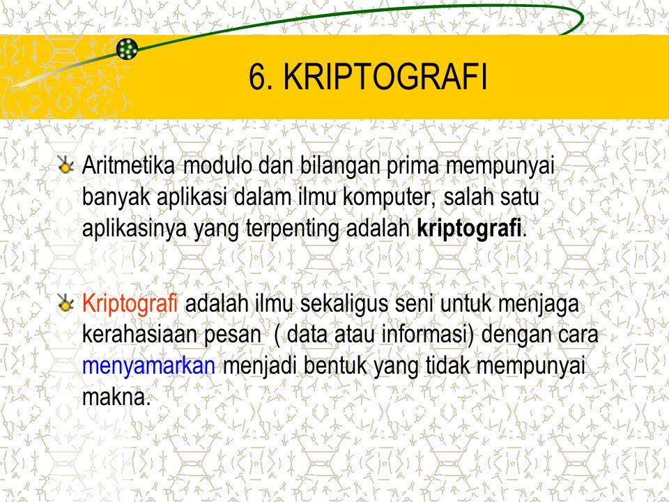 6. KRIPTOGRAFI Aritmetika modulo dan bilangan prima mempunyai banyak aplikasi dalam ilmu komputer, salah satu aplikasinya yang terpenting adalah kript